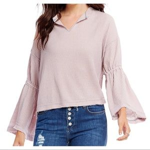 Free People Dahlia Thermal V-Neck Bell Sleeve Top